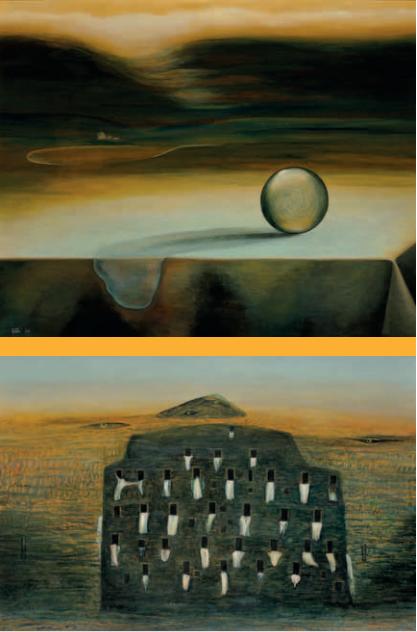 Malý tekoucí stín, olej, 50x70 cm, 2005 a Jinotajný zámek, olej, 86x61 cm, 2008